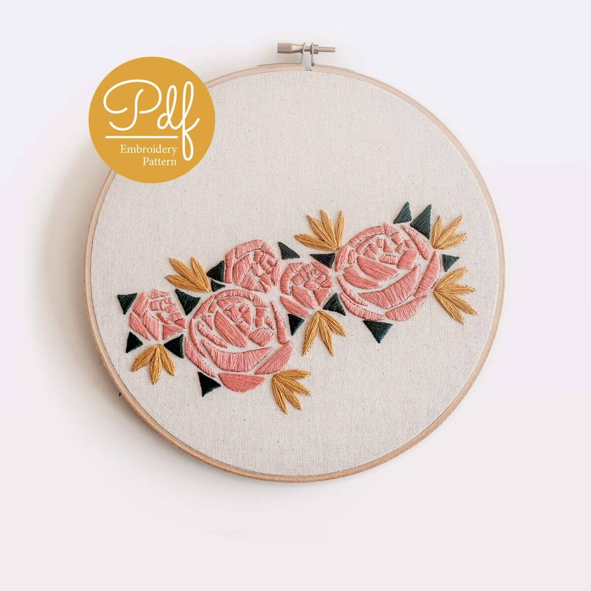 Geometric Florals Embroidery pattern PDF Digital Download