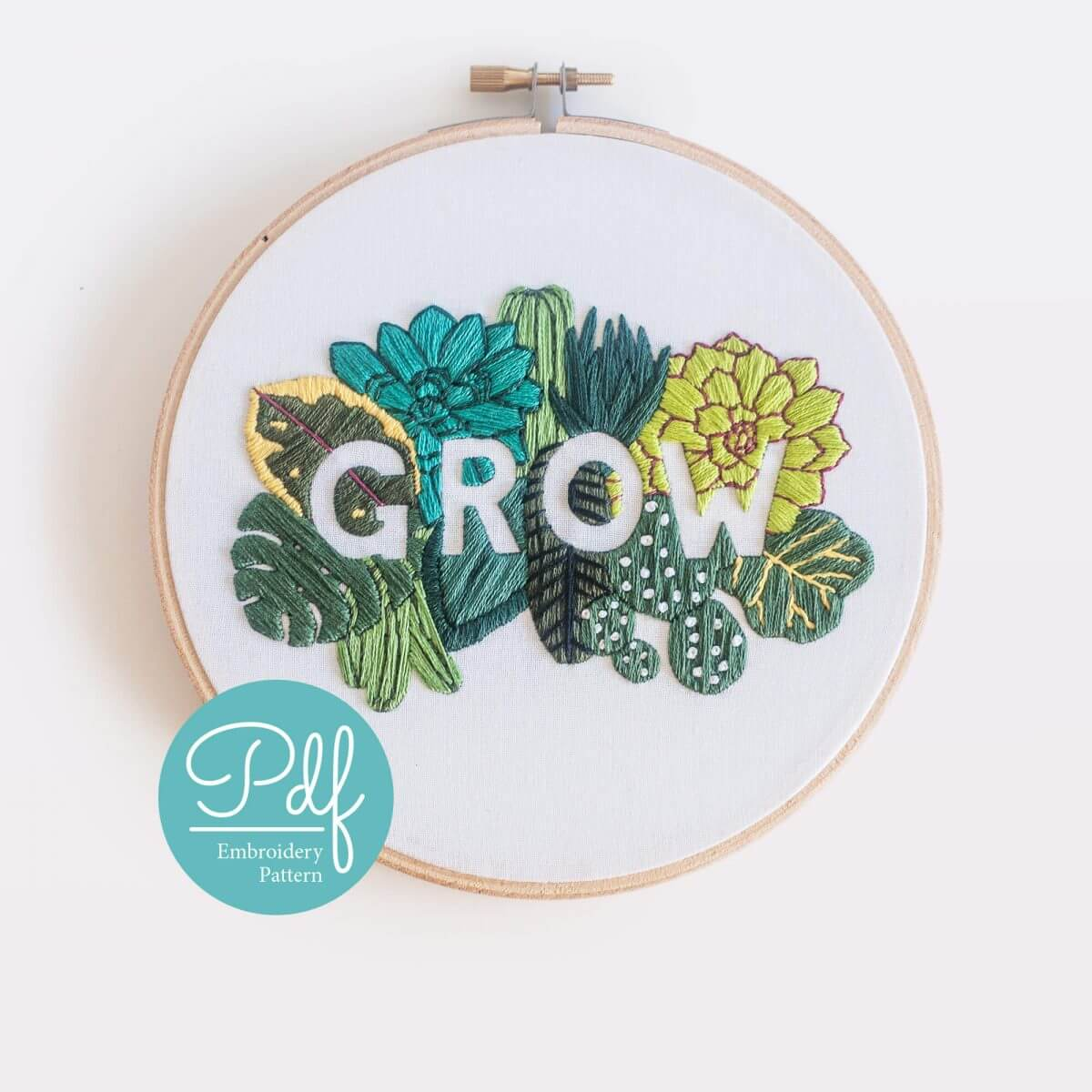 GROW Embroidery pattern PDF Digital Download