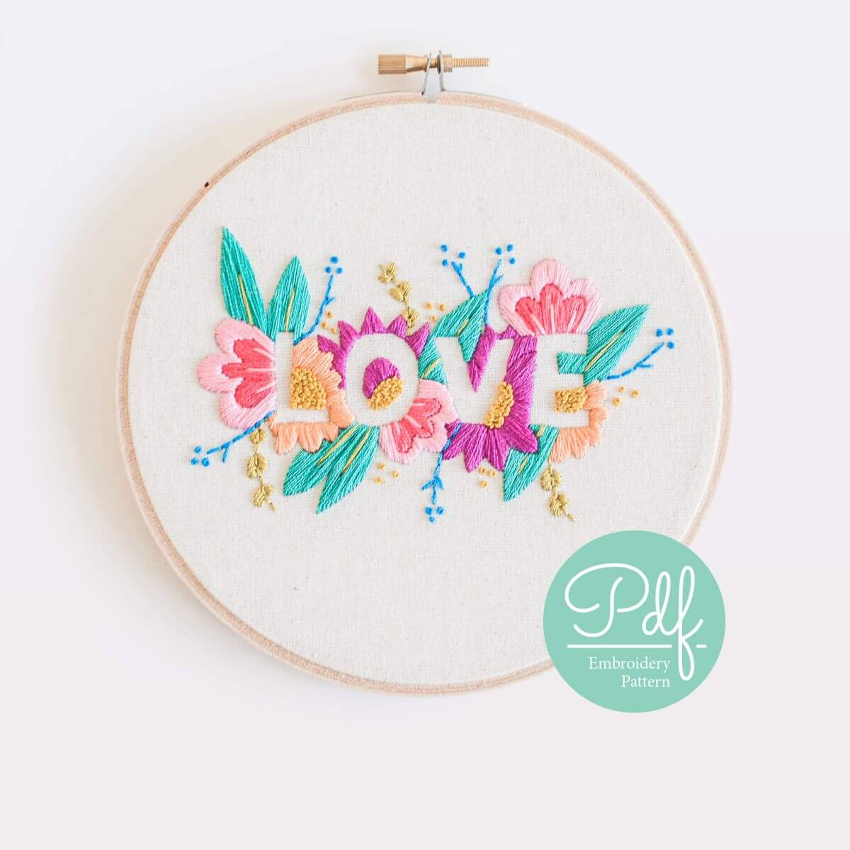 LOVE Embroidery pattern PDF Digital Download