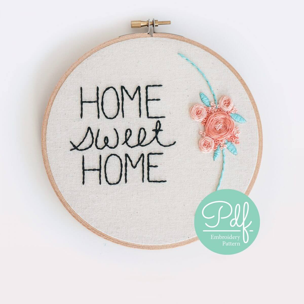 Home Sweet Home Embroidery pattern PDF Digital Download