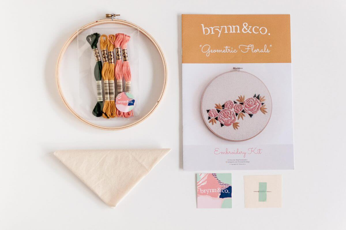 Geometric Florals Do it Yourself Embroidery Kit with Pattern