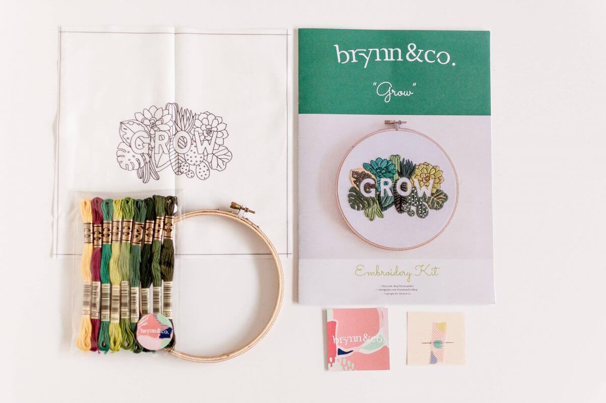 GROW Do it Yourself Embroidery Kit with Pattern