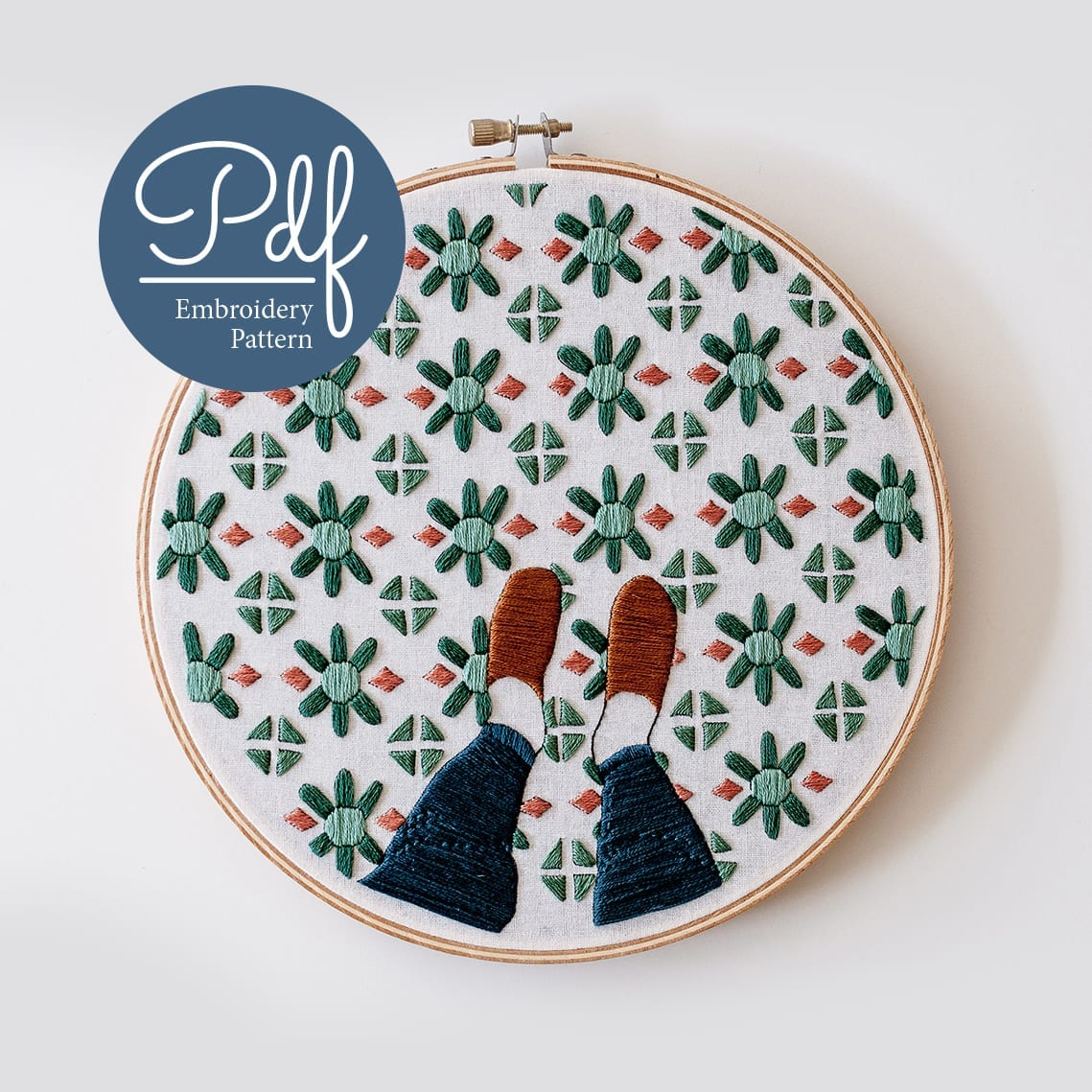 Fancy Feet Embroidery pattern PDF Digital Download & Embroidery Kit
