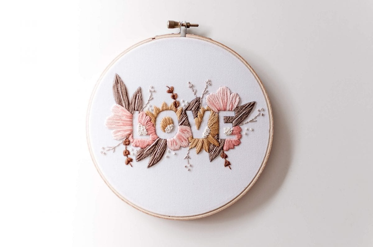 LOVE Embroidery Kit - Soft Palette Do It Yourself Embroidery Kit