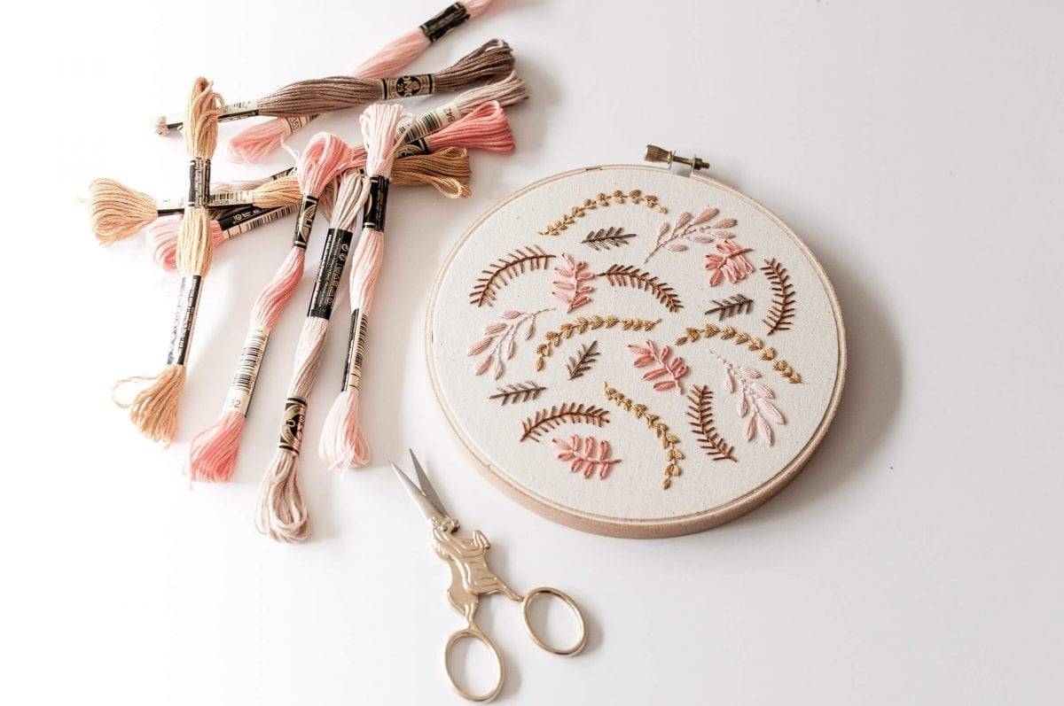 """Coral Breeze 6"""" Hand Embroidered Hoop Art"""