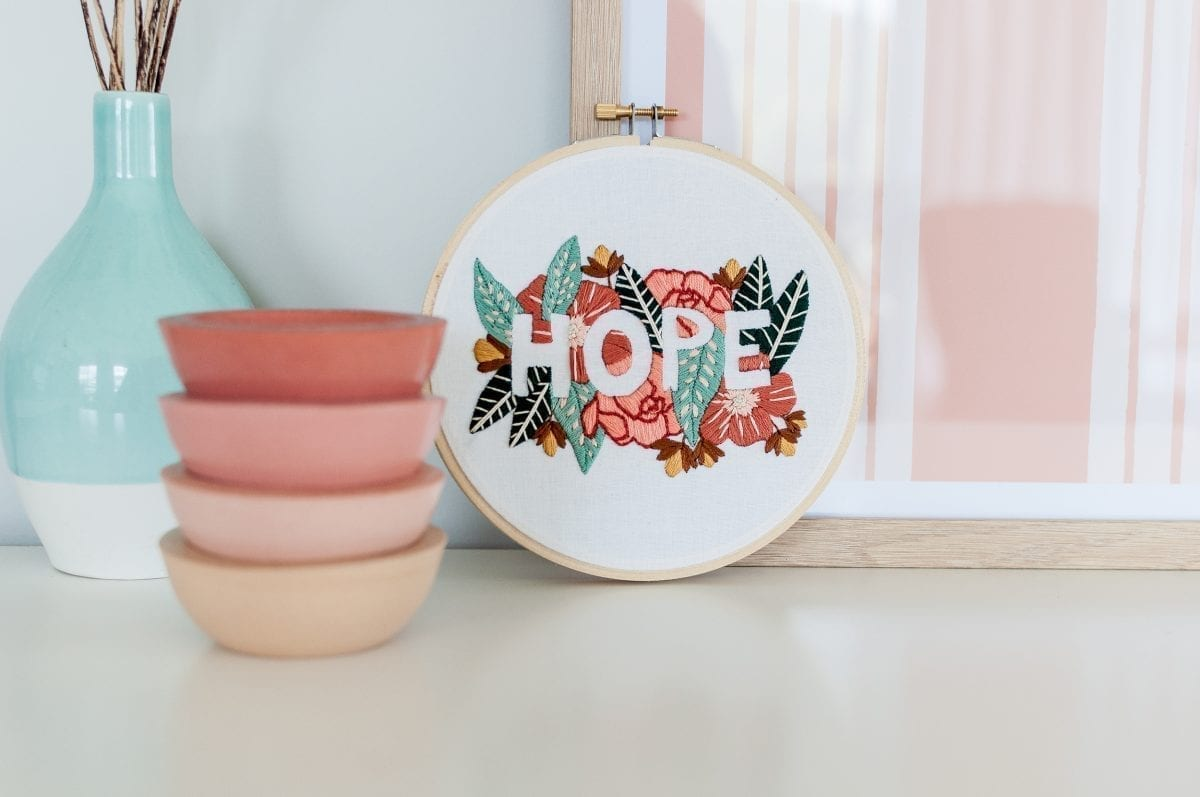 Do it yourself HOPE Embroidery Kit & Pattern