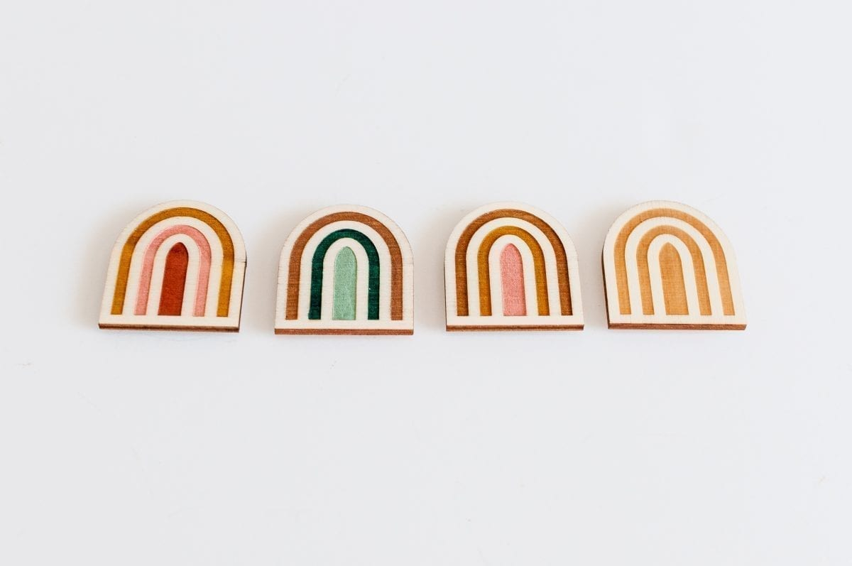 Hand Painted Wooden Embroidery Rainbow Needle Minders