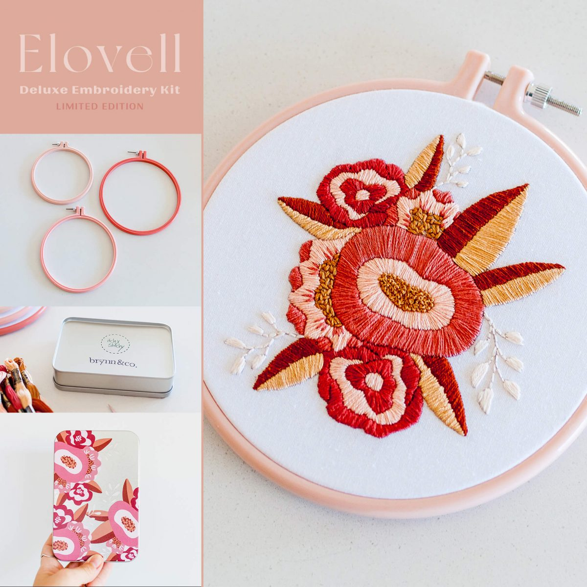 Elovell Floral Bloom Do It Yourself Embroidery Kit